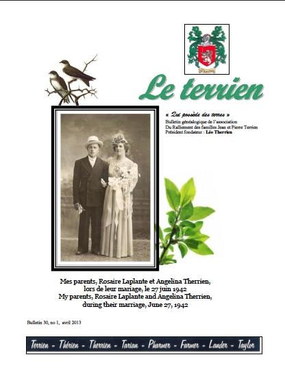 Bulletin Le Terrien Volume 30 Numéro 1 - 2013