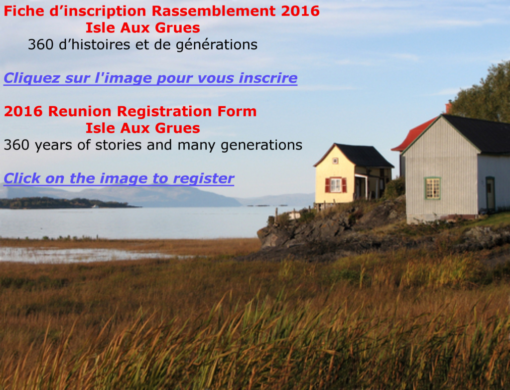 Inscription Isle-aux-Grues 2016